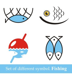 Set of symbols fishing vector