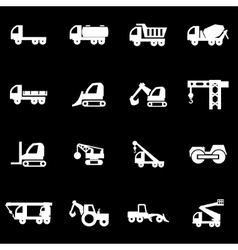 White construction transport icon set vector