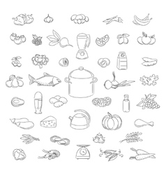 Food doodle icons set vector