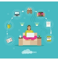 Female freelancer working remotely from her room vector