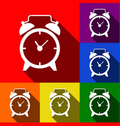 Alarm clock sign set of icons with flat vector