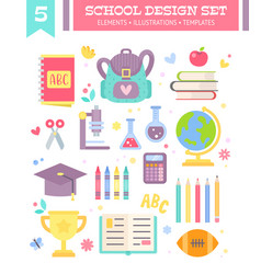 Back to school design set of cartoon items vector
