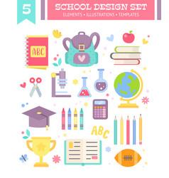 back to school design set of cartoon items vector image vector image