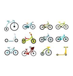 Bike icon set flat style vector