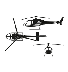 Black silhouette of helicopter vector image vector image