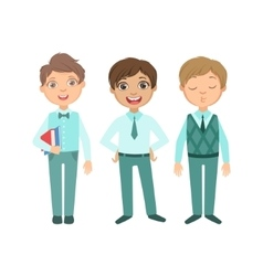 Boys In Blue Outfits Happy Schoolkids In Similar vector image vector image