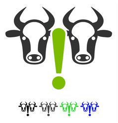 Cow problem flat icon vector