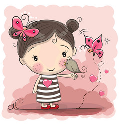 Cute cartoon girl with bird vector