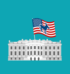 Democrat win white house flag blue donkey vector
