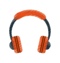 Drawing orange headphones music listen mobile vector