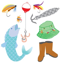 Fishing icons set vector