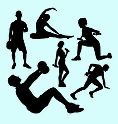Fitness and gymnastic teenager people sport silhou vector