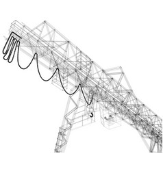 gantry crane wire-frame rendering of 3d vector image vector image