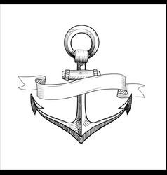 hand drawn nautical anchor vector image vector image