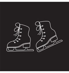 Ice skates line isolated vector image vector image