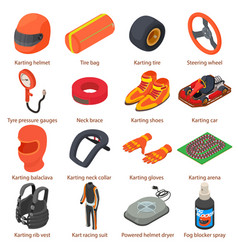 Karting equipment icons set isometric style vector
