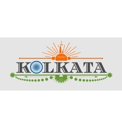 Kolkata city name with flag colors styled letter o vector
