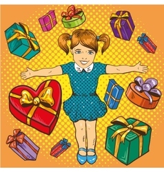 Little girl with presents and gift boxes birthday vector