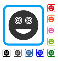 Mad smiley framed icon vector