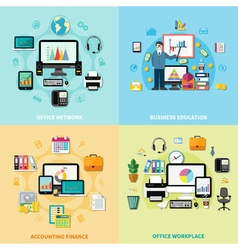 Office Workplace 2x2 Design Concept vector image