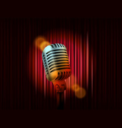 Opening stage curtains with golden microphone vector