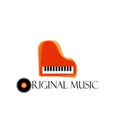 Orange music piano logo jazz logo color music vector