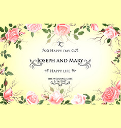 Postcard with delicate flowers roses wedding vector