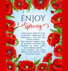 Poster of spring poppy flowers wreath vector