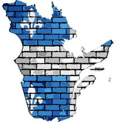 Quebec map on a brick wall vector