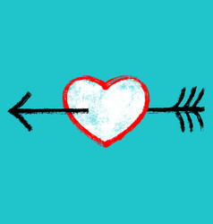 red heart pierced black arrow vector image vector image