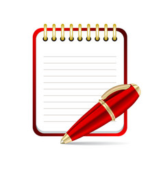 Red pen and notepad icon vector image vector image