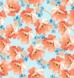 Seamless floral patter with blue flowers vector image