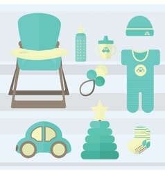 Set baby for boy elements vector