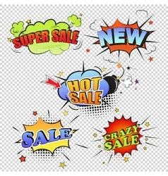 Set of pop art comic sale discount promotion vector image vector image