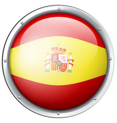 Spain flag on round button vector