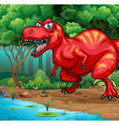 T-rex walking in the jungle vector