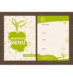 Template of a vegetarian menu for a cafe vector