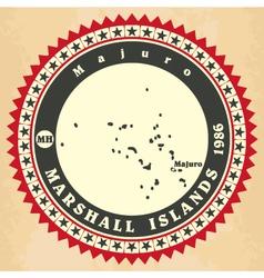 Vintage label-sticker cards of marshall islands vector