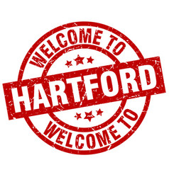 Welcome to hartford red stamp vector