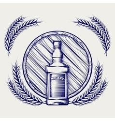 Whisky bottle barrel and wheat sketch vector