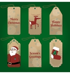collection of cute christmas gift tags with vector image
