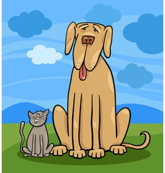 Small cat and big dog cartoon vector