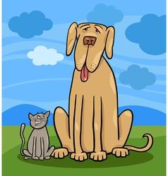 small cat and big dog cartoon vector image
