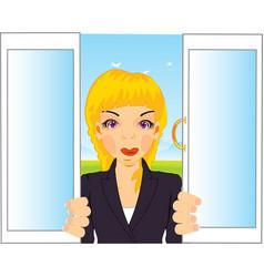 Girl in window vector