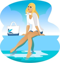 Girl at the pool vector