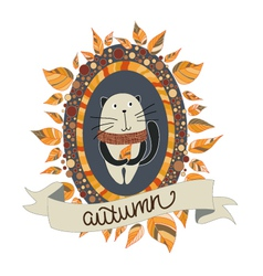 Autumn cat vector