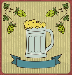 Vintage card with glass mug beer vector