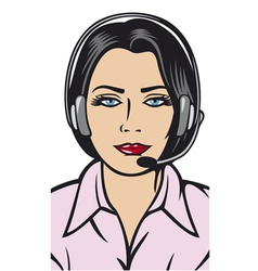 female helpline operator with headset vector image