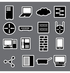 Network icon stickers collection eps10 vector