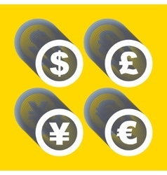 Dollar euro yen and pound icons signs vector